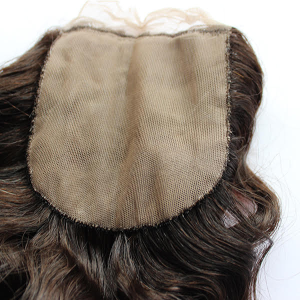 Deep Wave Human Hair closure up close silk base
