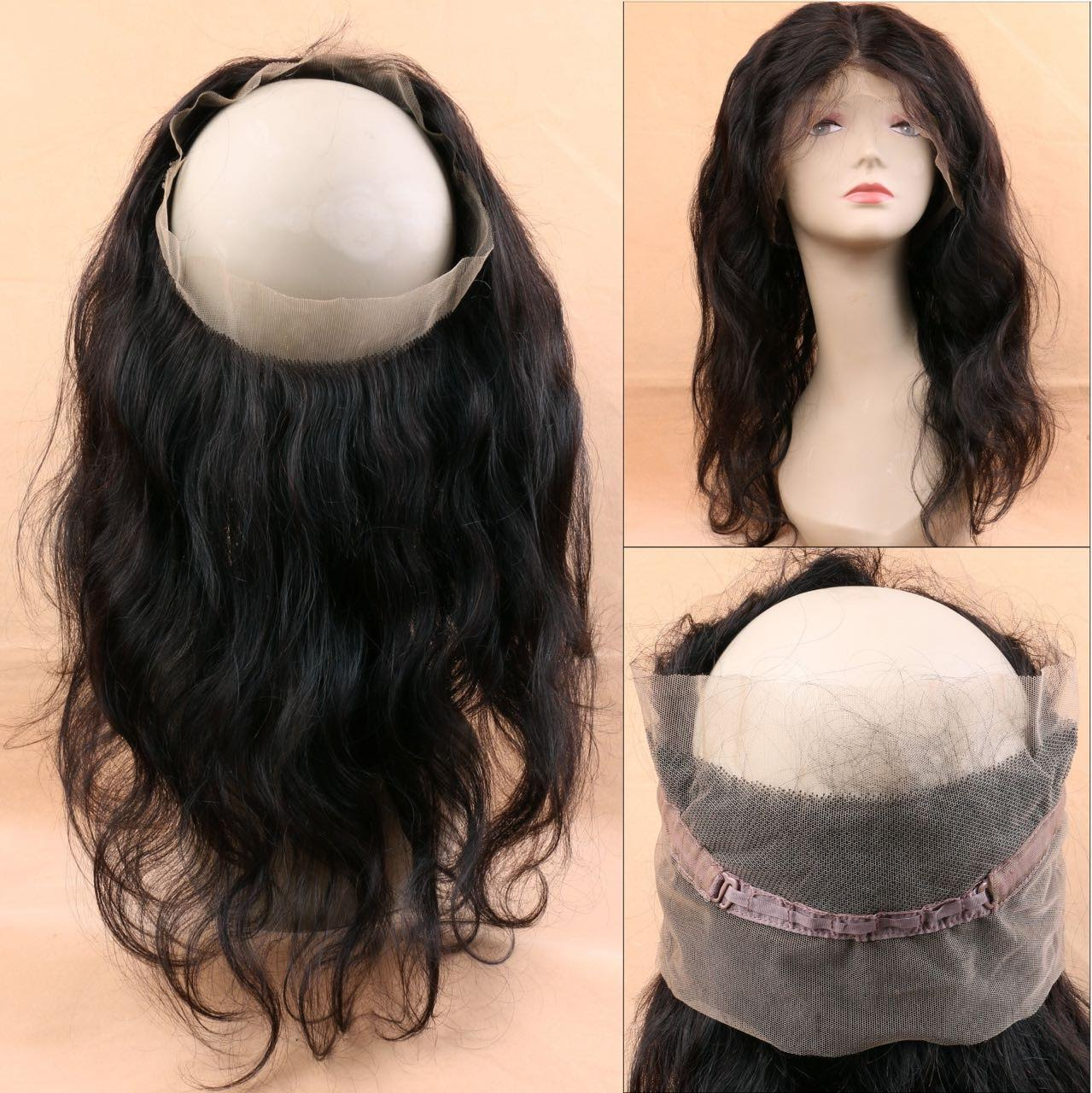 Body wave 360 human hair lace closure three views