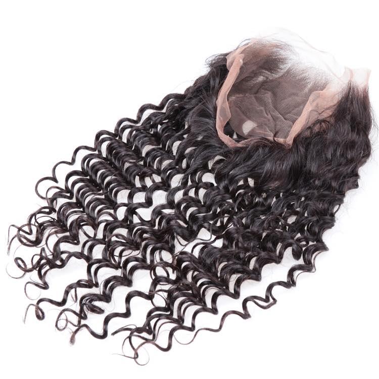 360 Human Hair Lace Closure-deep-curly