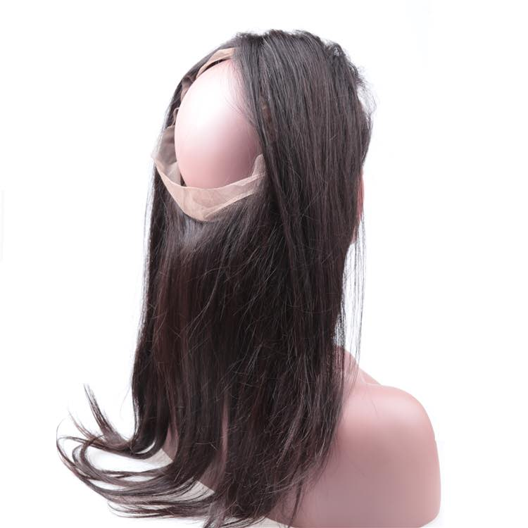 360 Human Hair Lace Closure-straight-sideview